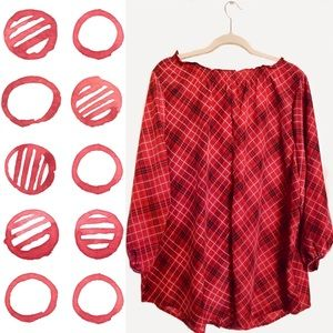 Tops - Red Plaid 3/4 Sleeve Button Up Blouse (XL)